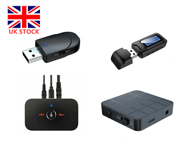 UK 2in1 Wireless Bluetooth Transmitter Receiver Audio Adapter AUX RCA For PC TV • 6.29£