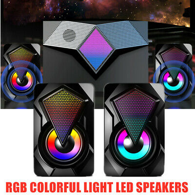 Wired Computer Speakers Bass Stereo Subwoofer Colorful LED Light Laptop USB MP3 • 10.99£