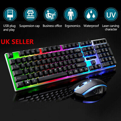 Gaming Keyboard Mouse Set Rainbow LED Wired USB For PC Laptop PS4 Xbox One 360 • 10.29£