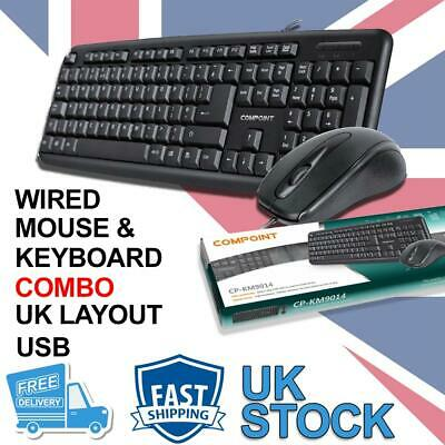 USB Keyboard And Mouse Combo Set Wired Black UK Retail Boxed Qwerty • 11.99£