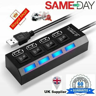 High Speed 4 Port USB HUB 2.0 Multi Splitter Expansion Desktop PC Laptop Adapter • 4.99£