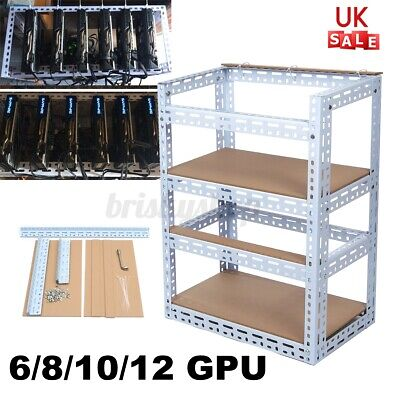 6/8/10/12 GPU Open Air Mining Rig Case Frame Graphics Crypto Coin For ETH BTC UK • 43.99£