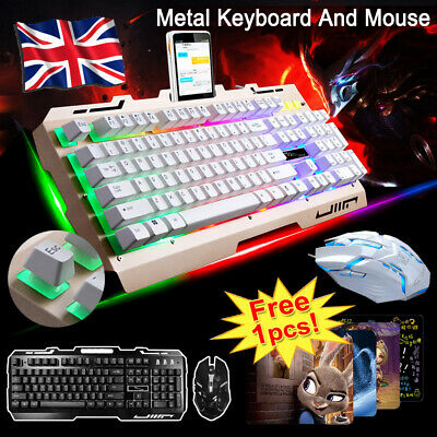 LED Keyboard Mouse Set PC Laptop Gaming Wired USB For PS4 Xbox One 360 Window UK • 12.99£