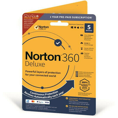Norton 360 Deluxe 2021 / 3 Device/ 5 Devices / 1 Year / VPN / 50 GB Cloud Backup • 15.30£