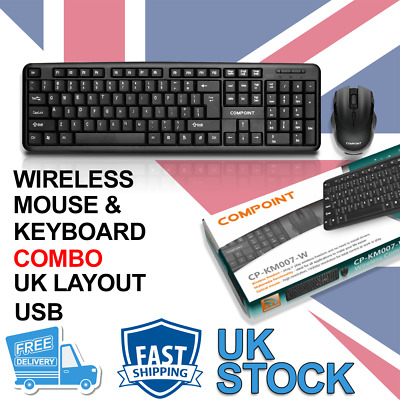 Compoint 2.4Ghz USB Wireless Keyboard And Mouse Combo Set For PC Laptop Smart TV • 13.99£