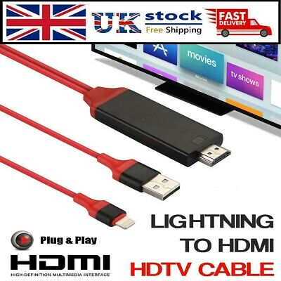 Lightning To HDMI Cable Digital TV AV Adapter For Apple IPad IPhone 5 6 7 8 X XS • 7.19£