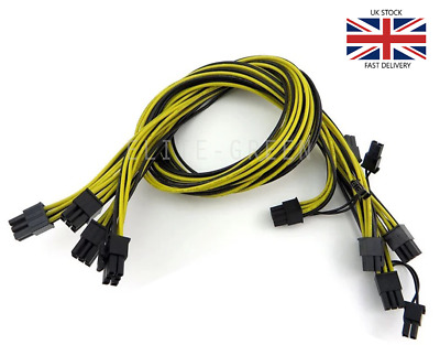 4 X 6pin To 8pin (6+2) PCIe 60CM Extended Power Cable For GPU/ASIC Mining • 19.99£