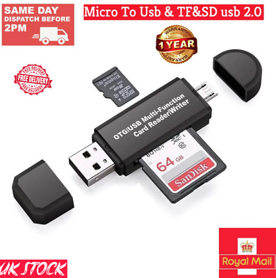NEW Memory Card Reader SD Card For Android Phone Tablet Pc Micro Usb OTG To USB  • 3.49£