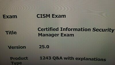 ISACA Certified Information Security Manager CISM Exam Q&A+SIM • 9.99£