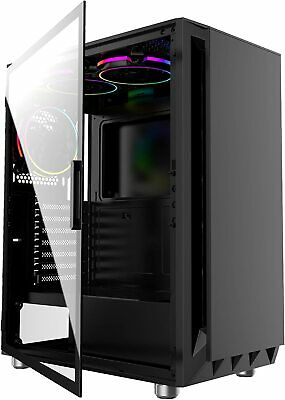 PC Mid Tower Computer ATX Case - IONZ KZ21 Black Tempered Glass Side • 44.95£