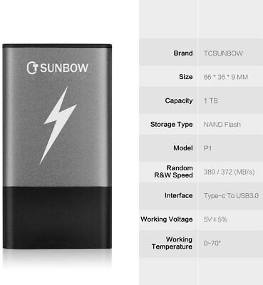 TCSUNBOW External Solid State Drives 1TB Portable SSD 1TB • 58.99£