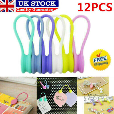 12X Magnetic Silicone Cord Organisers Clips Earphone Wire Wrap Cable Ties Bowl • 5.39£