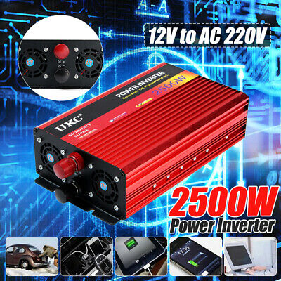 2500W Peak Car Power Inverter DC 12V To AC 220V Modified Sine Wave USB Converter • 77.19£