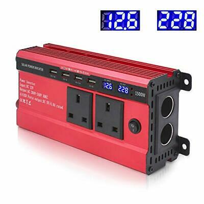 1500W Power Inverter 12V To 240V AC Car Converter With 3.1A 4 USB 2 AC Sockets • 69.99£