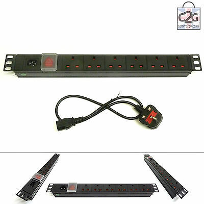 19  6 Way Detachable Power Strip UK Extension PDU Data IEC Rack Cabinet Mount • 28.99£
