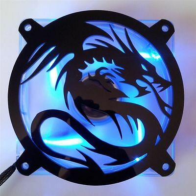 Custom 80mm FLYING DRAGON Computer Fan Grill Gloss Black Acrylic Cooling Cover • 5.41£