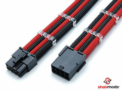 8 Pin PCI-E GPU Black Red Sleeved Extension Cable 30cm Shakmods 2 Cable Combs • 8.99£