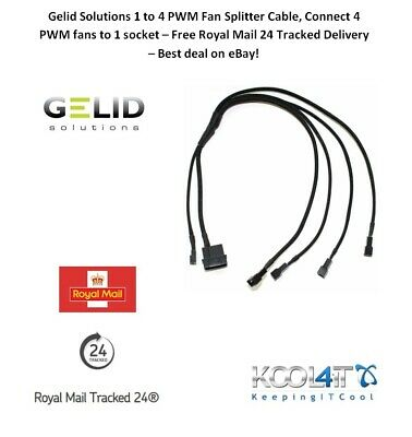 Gelid Solutions 1 To 4 PWM Fan Splitter Cable, Connect 4 PWM Fans To 1 Socket • 4.97£