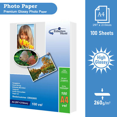 100 Sheets A4(260gsm) EW Premium Quality Glossy Photo Paper For Inkjet Printers • 10.99£