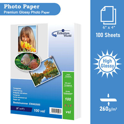 100 Sheets 6x4  260gsm Premium Professional Glossy Photopaper By Etikettenworld • 5.69£