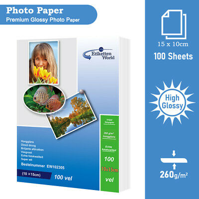 High Premium Glossy Photo Paper By EW- 100 Sheets | 10 X 15 Cm | 260 Gsm • 4.28£