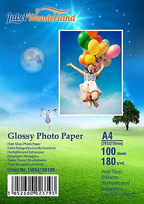 100 Sheets A4  High Quality High Gloss 180 Gsm Photo Paper By LW  FREE P&P • 9.95£