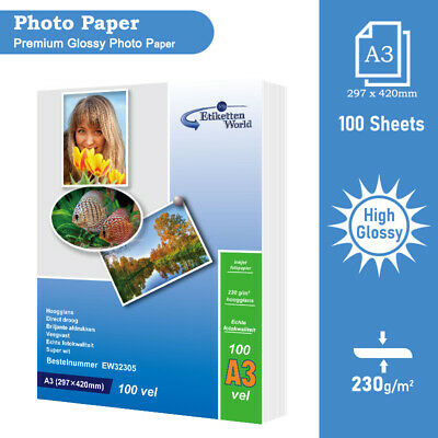 100 Sheets High Glossy Inkjet Printer Photo Paper | A3 230 Gsm - EW • 17.95£