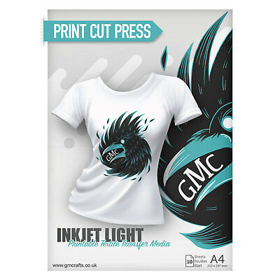 10 X A4 Printable HTV Iron On T Shirt Transfer PAPER - Inkjet Light • 6.99£
