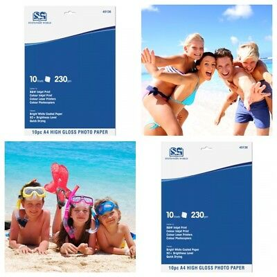New 10 Sheets A4 Premium Quality 230 GSM Thickness High Gloss Photo Print Paper • 2.40£