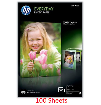 HP Everyday Photo Paper Glossy 6x4 10x15cm 200 Gsm 100 Sheets CR757A • 12.90£