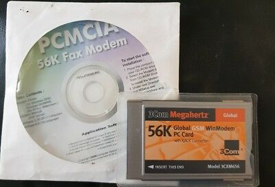 3com Megahertz 56K Global Modem PCMCIA Card 3CXM656 Xjack Connector  • 6.20£