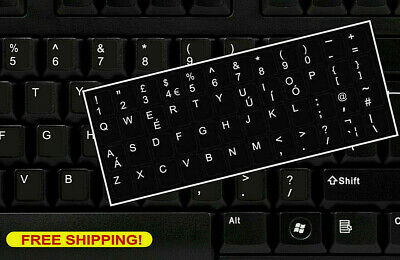 English UK Keyboard Replacement Stickers White On Black Any PC Computer Laptop  • 2.85£