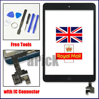For Black IPad Mini 1/2 Touch Glass Digitizer Screen Replacement +IC Home Button • 11.92£