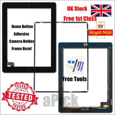 For IPad 2 A1395 A1396 A1397 Screen Black Digitizer Touch Replacement Button IC • 11.92£