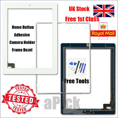 For IPad 2 A1395 A1396 A1397 Screen White Digitizer Touch Replacement Button IC • 11.92£