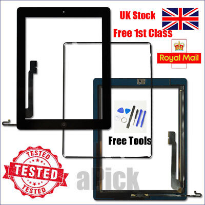 For IPad 4 A1458 A1459 A1460 Screen Black Digitizer Touch Replacement Button IC • 11.93£
