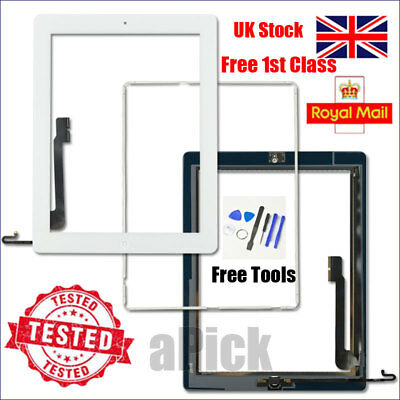 For IPad 4 A1458 A1459 A1460 Screen White Digitizer Touch Replacement Button IC • 11.92£
