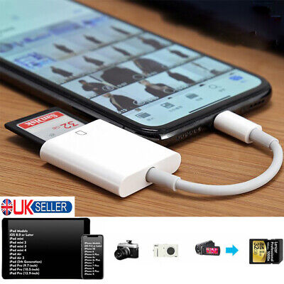 Lightning To SD Card Camera Reader Adapter For Apple IPhone 6s/7/8/X IPad Air UK • 7.99£