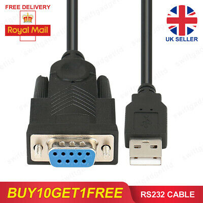 RS232 Cable COM Port Serial DB9 Female To USB Converter Adapter Windows 7 8 10 • 3.95£