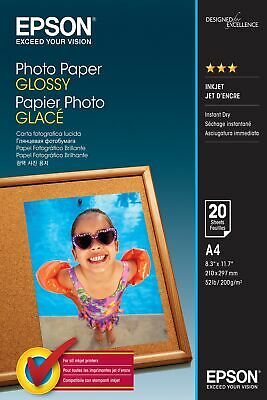 Epson Glossy Photo Paper, A4 Size Sheets, 200gsm, Pack Of 20 Sheets, C13S042538 • 10.95£