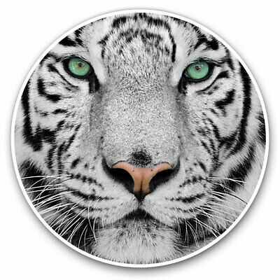 2 X Vinyl Stickers 7.5cm - White Tiger Face Animal Cool Gift #14490 • 1.99£
