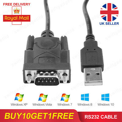 USB 2.0 To Serial RS232 DB9 MALE 9Pin Adapter Converter Cable 340 Windows 7 8 10 • 3.75£