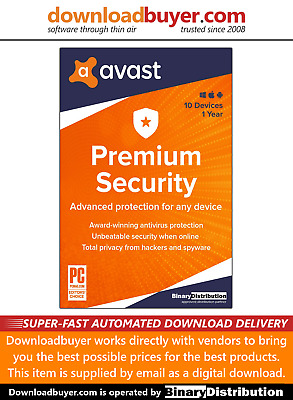 Avast Premium Security 2020 - 10 Devices - 1 Year [Download] • 11.99£