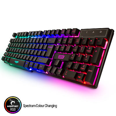 Orzly RGB Gaming Keyboard LED Back-lit Wired USB For Xbox PS4 PC Laptop Gaming • 12.99£