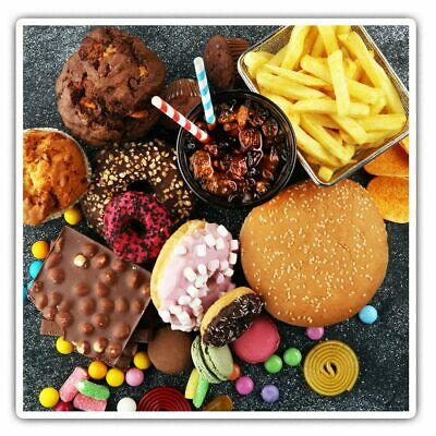 2 X Square Stickers 7.5 Cm - Junk Food Takeaway Treats Sweets Cool Gift #21744 • 2.49£