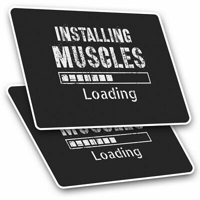 2 X Rectangle Stickers 7.5 Cm - Installing Muscles Loading Gym Cool Gift #14316 • 2.49£