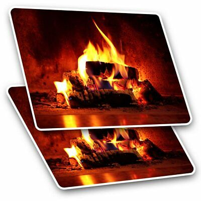 2 X Rectangle Stickers 7.5 Cm - Open Log Fire Winter Christmas Cool Gift #16344 • 2.49£