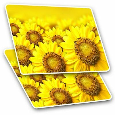 2 X Rectangle Stickers 7.5 Cm - Yellow Sunflower Field Flowers Cool Gift #14605 • 2.49£