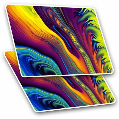 2 X Rectangle Stickers 7.5 Cm - Psychedelic Colours Iridium Ink Art Cool Gift #1 • 2.49£