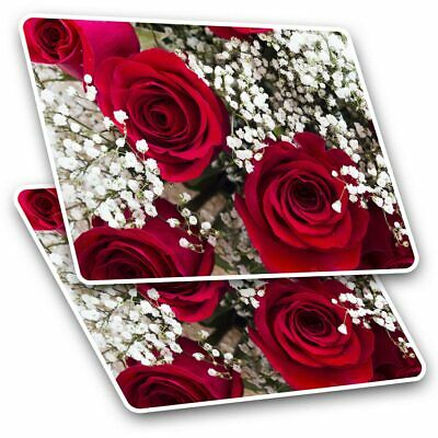 2 X Rectangle Stickers 10 Cm - Red Roses Bouquet Wedding Valentine #16722 • 2.49£